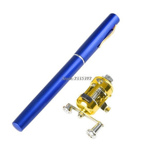 Mini Telescopic Portable Pocket Fish Pen Aluminum Alloy Fishing Rod Pole + Reel