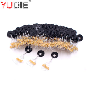 60PCS 10 Set Yellow High Quality Rubber Space Beans For Sea Carp Fly Fishing Spinner Bait Accessories Tool Fish Sport Tackle