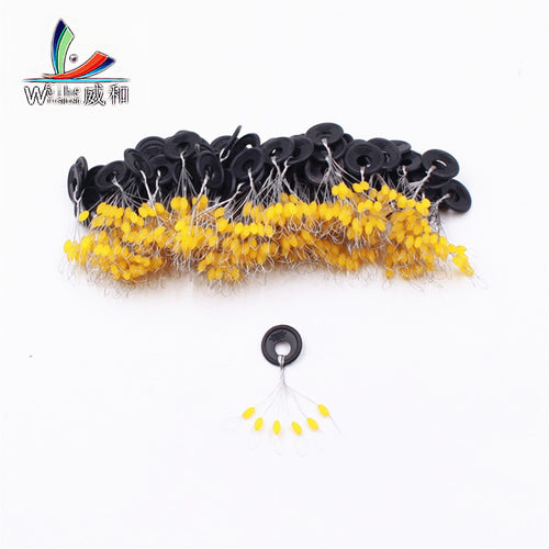 120Pcs 20Group Yellow Set High Quality Rubber Space Beans For Sea Carp Fly Fishing Accessories Spinner Bait Fish Sport Tool Face