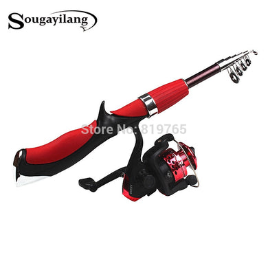 Sougayilang Carbon Fiber Rod Superhard Boat Ice Fly Lure Fishing Rod With High Quality Fishing Reel Fishing Tackle set De Pesca