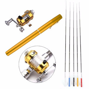 New Metal Portable Pocket Telescopic Mini Fishing Pole Pen Shape Folded Fishing Rod With Reel Wheel