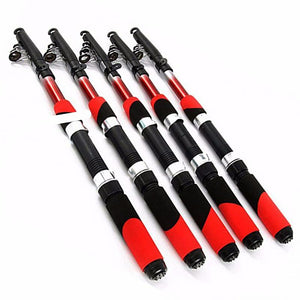 1.8M 2.1M 2.4M 2.7M 3.0M 3.6M 4.5M Portable Telescopic Fishing Rod Aluminum Fishing Pole Travel Sea Fishing Spinning Rod