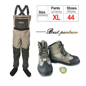 Fly Fishing Shoes & Pants Aqua Sneakers Clothing Set Breathable Rock Sports Wading Waders Felt Sole Boots Quick-drying No-slip