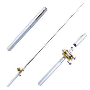 Metal Portable Pocket Telescopic Mini Fishing Pole Pen Shape Folded Fishing Rod With Reel Wheel