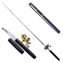 Load image into Gallery viewer, Metal Portable Pocket Telescopic Mini Fishing Pole Pen Shape Folded Fishing Rod With Reel Wheel