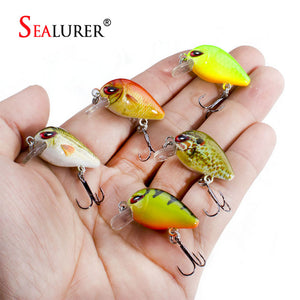 SEALURER 5PCS/Lot 1.8g 3cm Topwater 0.1-0.5m Wobbler Japan Mini Crankbait 5Baits with Plastic Box Fly Fishing Lure Crazy Wobbler