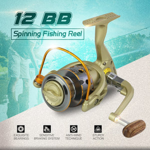12 BB Fishing Reel Left/Right Interchangeable Collapsible Handle Fishing Spinning Reel Ultra Light Smooth Reel