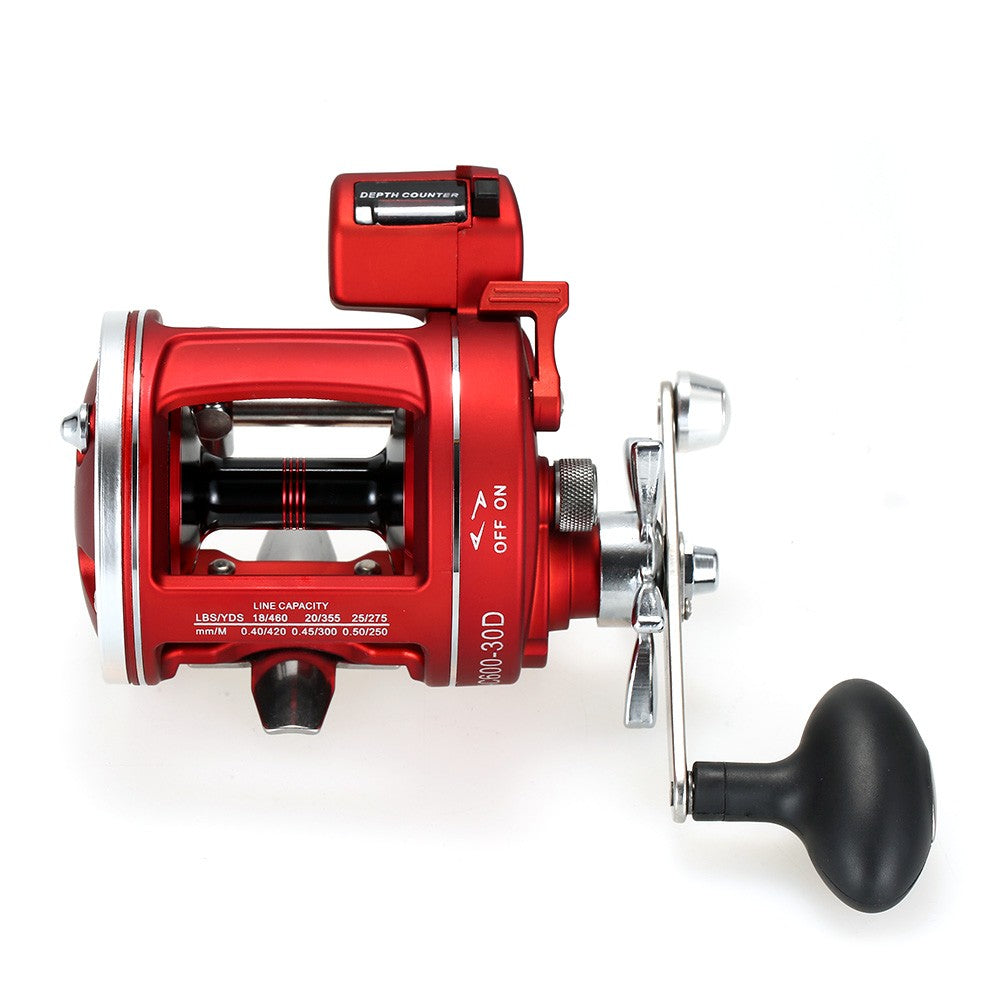 12 Ball Bearings Fishing Trolling Reel with Line Counter Alarm Bell Drum Reel