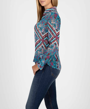 Camile Blouse With Wide Cuff-New-Kut from the Kloth