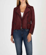 Eveline Vegan Suede Moto Jacket (Raisin) Main Image