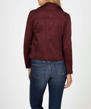 Eveline Vegan Suede Moto Jacket (Raisin)-Sale-Kut from the Kloth