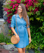 Shelby-Chambray Belted Dress