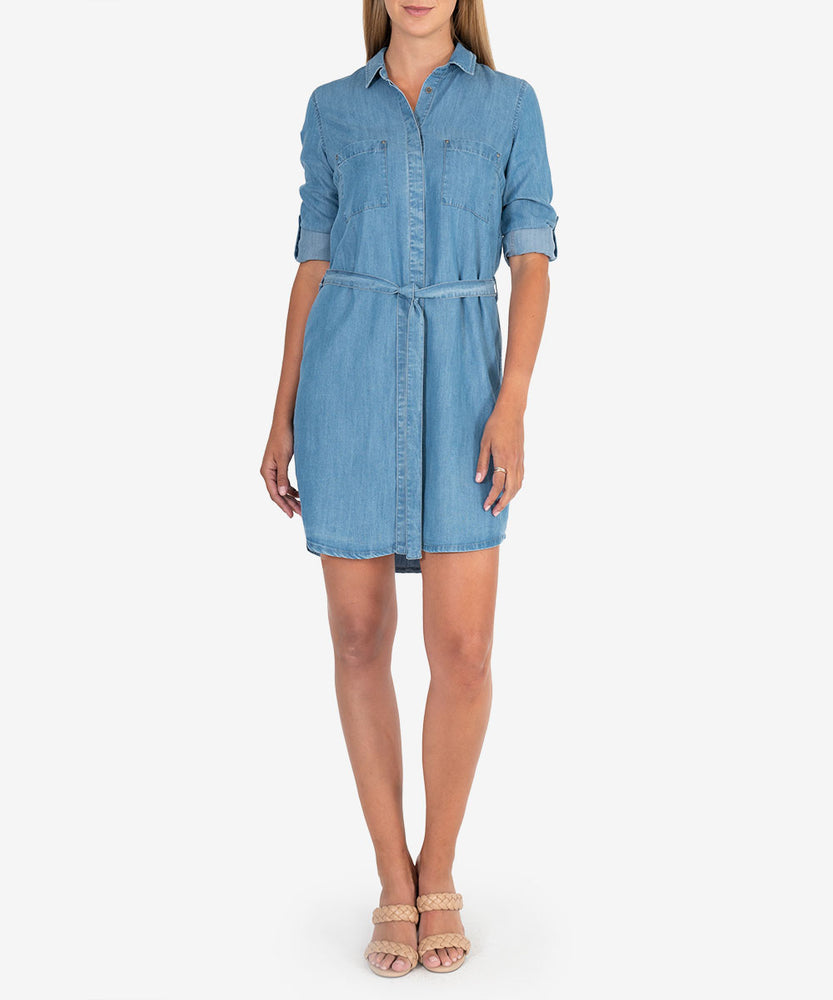 Shelby Chambray Belted Dress-Kut from the Kloth