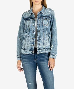 Emma Boyfriend Jacket (Glimmer Wash)-New-Kut from the Kloth