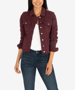 Kara Crop Denim Jacket (Deep Wine) Main Image