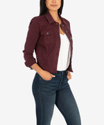 Kara Crop Denim Jacket (Deep Wine) Hover Image
