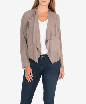 Tayanita Vegan Suede Jacket (Buff)-Jackets-Kut from the Kloth