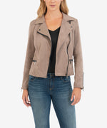 Eveline Vegan Suede Moto Jacket (Buff) Main Image