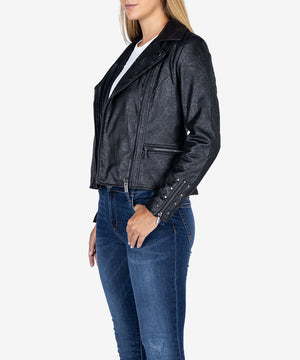 Eveline Faux Snake Suede Moto Jacket-New-Kut from the Kloth