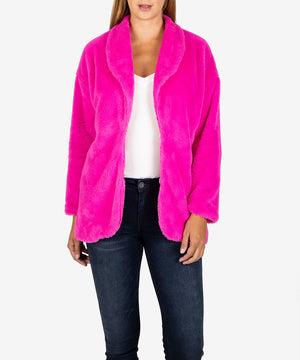Jina Faux Fur Coat, Exclusive (Magenta)-New-Kut from the Kloth