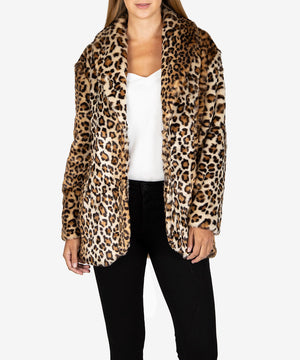 Jina Leopard Faux Fur Coat, Exclusive-New-Kut from the Kloth