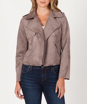 Jacee Draped Faux Suede Moto Jacket (Buff)-Kut from the Kloth