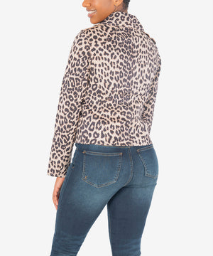 Jacee Draped Moto Jacket (Cheetah Print)-New-Kut from the Kloth