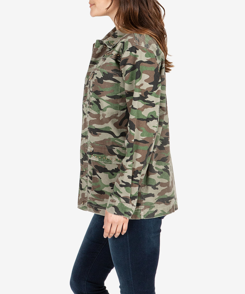 Claudia Studded Camouflage Twill Jacket-Kut from the Kloth