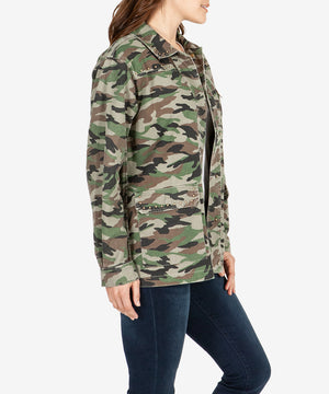 Claudia Studded Camouflage Twill Jacket--Kut from the Kloth
