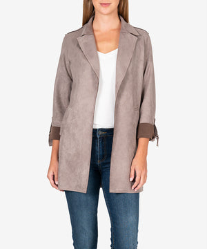Faye Faux Suede Coat (Buff)-New-Kut from the Kloth