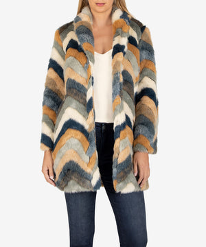 Eileana Chevron Faux Fur Coat, Exclusive-New-Kut from the Kloth
