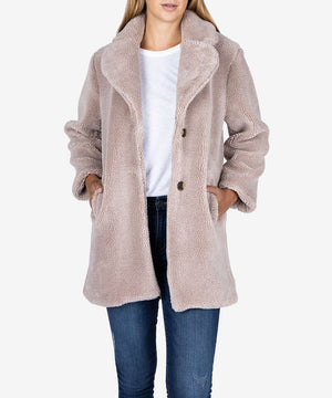 Addyson Faux Fur Coat (Taupe)-New-Kut from the Kloth