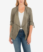 Dianne Faux Suede Drape Jacket (Light Olive) Main Image