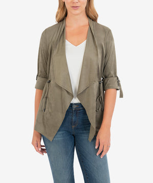 Dianne Faux Suede Drape Jacket (Light Olive)-New-Kut from the Kloth