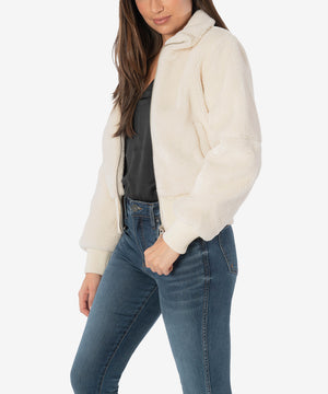 Mireya Faux Sherpa Bomber (Cream)-New-Kut from the Kloth