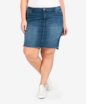 Connie Step Hem Skirt, Plus (Affectionate Wash)-New-Kut from the Kloth
