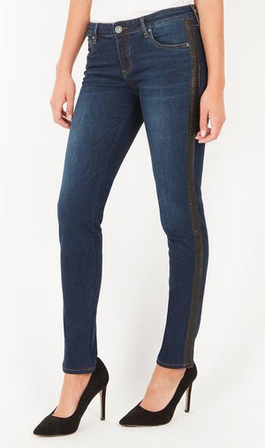 Diana Relaxed Fit Skinny With Side Braided Trim (Model Wash)