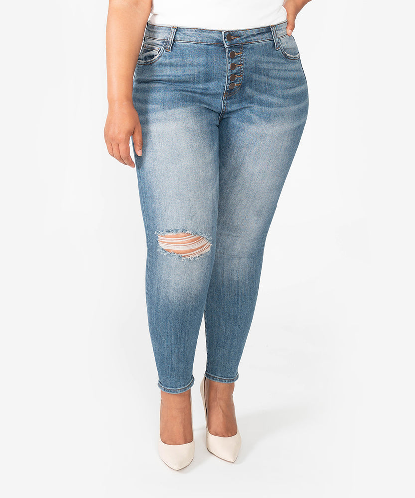 Donna High Rise Ankle Skinny, Plus (Interested Wash)-Kut from the Kloth