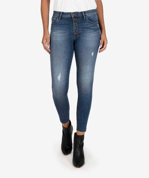 Donna High Rise Ankle Skinny (Touched Wash)-New-00-Touched W/Dk Stone Base Wash-Kut from the Kloth