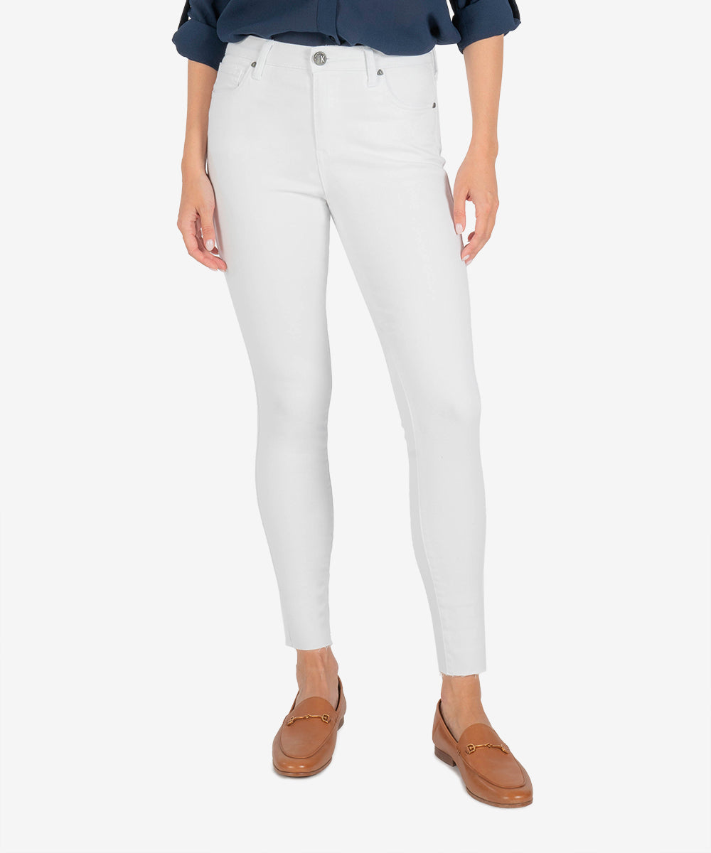 Connie High Rise Slim Fit Ankle Skinny (Optic White)