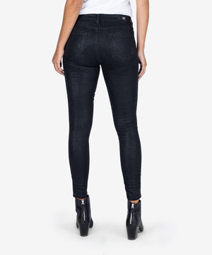 Mia Snake Print High Rise Skinny (Black)-New-Kut from the Kloth