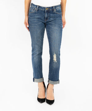 Catherine Boyfriend, Petite (Diverge Wash)-Denim-0p-Diverge W/Medium Base Wash-Kut from the Kloth