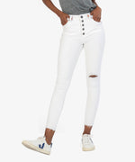 Connie High Rise Fab Ab Slim Fit Ankle Skinny (Optic White) Main Image