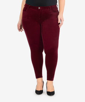 Diana Corduroy Relaxed Fit Skinny, Plus (Burgundy)-New-Kut from the Kloth