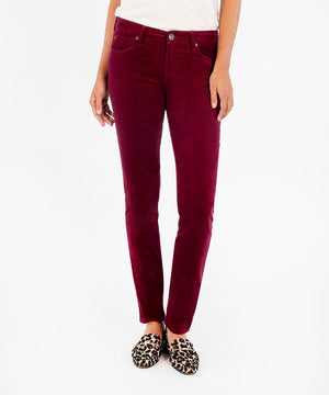 Diana Corduroy Relaxed Fit Skinny, Petite (Burgundy)-New-Kut from the Kloth
