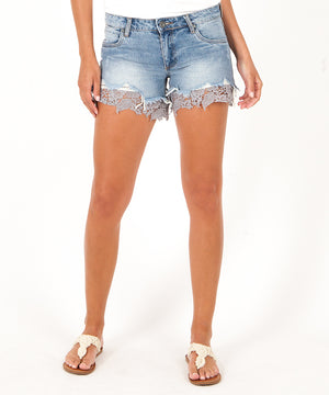 Allison Short Destructed Lace Short (Phenomenon Wash)-Kut from the Kloth