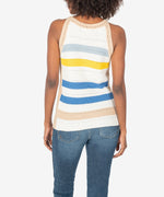 Nour Sleeveless Stripe Crochet Top Hover Image