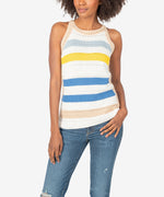 Nour Sleeveless Stripe Crochet Top Main Image