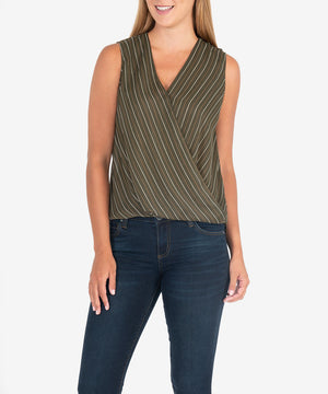 Calla Wrap Top (Olive)-New-Kut from the Kloth