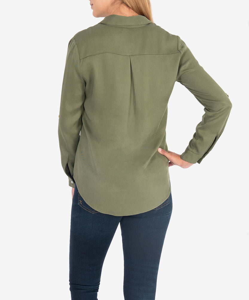Halia Blouse (Olive)-Kut from the Kloth